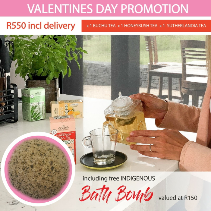 Valentine's Day Promo – Buchu + Honeybush + Sutherlandia Herbal Tea